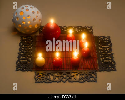 New style wax lamps decoration during diwali festival ; India
