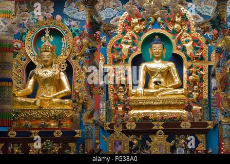 Golden Buddha statues in Namdroling monastery Palyul Nyingmapa Buddhist Centre Byalakuppe ; Mysore District ; Karnataka - Stock Photo