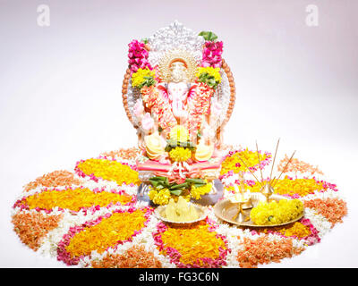 God Ganpati Ganpati creator mounted on big rat on procession of Ganesh chaturthi - Stock Photo