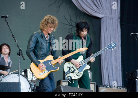 The Raconteurs playing the Pyramid stage at the Glastonbury Festival 2008, Somerset, England, United Kingdom. - Stock Photo