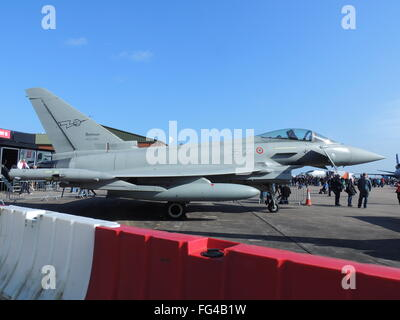 MM7296, a Eurofighter F-2000A  Typhoon of the Italian Air Force, on static display at the RAF Leuchars Air Show - Stock Photo