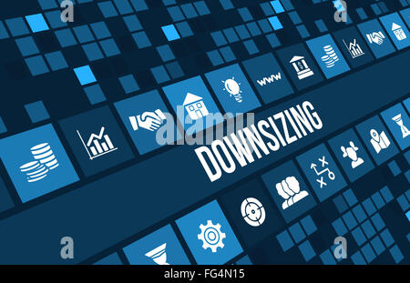 Downsizing concept image with business icons and copyspace. - Stock Photo