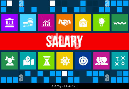 Salary concept image with business icons and copyspace. - Stock Photo