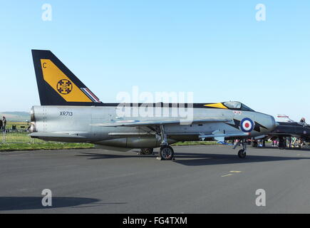 XR713,an English Electric Lightning F3 in the colours of 111 Squadron, Royal Air Force, on display at RAF Leuchars - Stock Photo