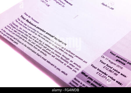 Pension statement pot transfer value fund letter amount cutout cut out white background isolated - Stock Photo