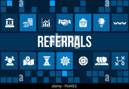 Referrals concept image with business icons and copyspace. - Stock Photo