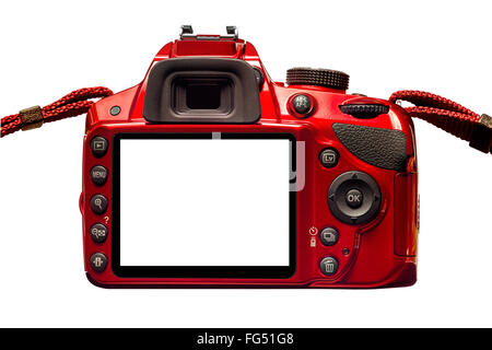 Red Camera Back With Blank Monitor and Straps - Stock Photo