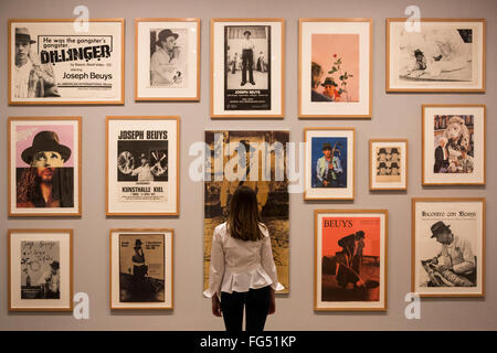 London, UK. 16 February 2016. Various Joseph Beuys posters. Preview of the new Tate Modern exhibition Performing - Stock Photo