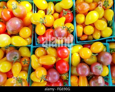 Full Frame Shot Of Fresh Tomatoes At Market Stall - Stock Photo