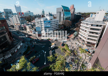 Tokyo, Japan - January 14, 2016:Aerial view of Omotesando district. Omotesandō is known as one of the foremost 'architectural - Stock Photo