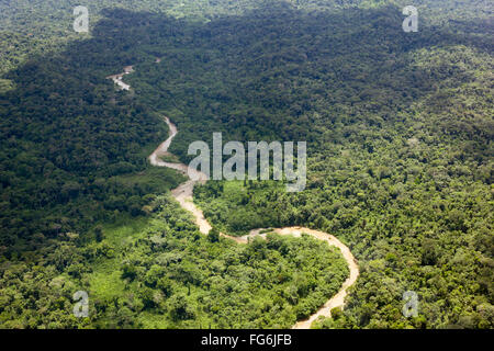 Aerial view of a river running through lowland Amazonian rainforest in Pastaza Province, Ecuador - Stock Photo