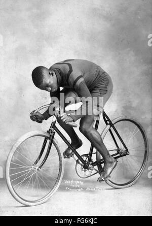 Marshall Walter 'Major' Taylor an American cyclist who won the world 1 mile (1.6 km) track cycling championship - Stock Photo