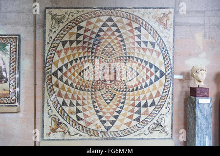 Tesselated floor on display in archaeological museum; Corinth, Greece - Stock Photo