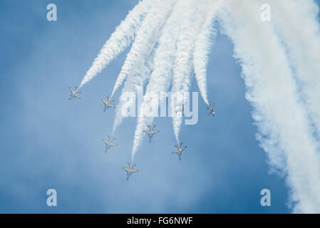Singapore, 16 Feb 2016: Aerial display at Singapore Airshow 2016. T-50B Black Eagles fighter jets from the Republic - Stock Photo