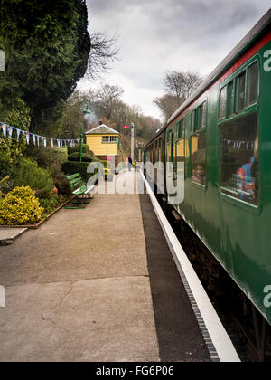 Steam train carriages a Medstead and Four Marks  station on the Mid Hants Railway, Watercress Line. - Stock Photo