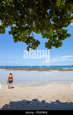 A young woman admires the view of the beach; Tamarindo, Costa Rica - Stock Photo