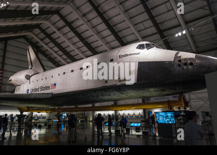 Space Shuttle Endeavour on display at the Samuel Oschin hall of the California Science Center in Los Angles USA - Stock Photo