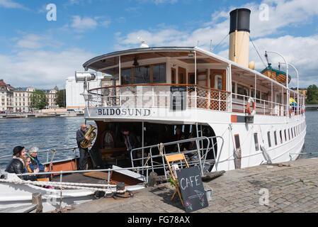 Cafe on board Blidosund steam boat, Gamla Stan (Old Town), Stadsholmen, Stockholm, Kingdom of Sweden - Stock Photo