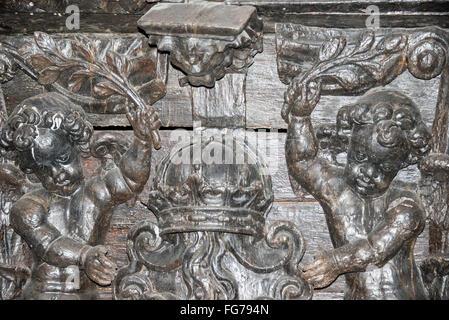 Stern panel of 17th-century 'Vasa' warship, Vasa Museum, Galärvarvsvägen, Djurgården, Stockholm, Kingdom of Sweden - Stock Photo