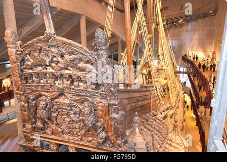 17th-century 'Vasa' warship, Vasa Museum, Galärvarvsvägen, Djurgården, Stockholm, Kingdom of Sweden - Stock Photo