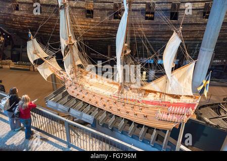 Scale model of 17th-century 'Vasa' warship, Vasa Museum, Galärvarvsvägen, Djurgården, Stockholm, Kingdom of Sweden - Stock Photo