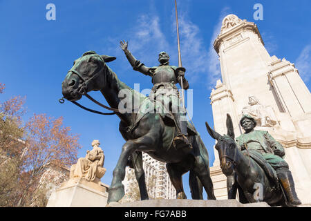 Don Quixote statue on Square of Spain in Madrid. - Stock Photo