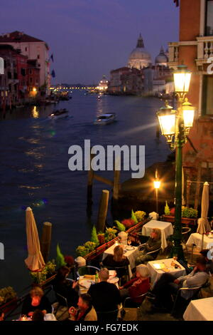 geography / travel, Italy, Venetia, Venice, Canal Grande, restaurant in Dorsoduro, Accademia Quarter, view towards - Stock Photo