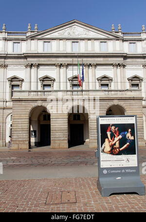geography / travel, Italy, Lombardy, Milan, Piazza del Scala, La Scala, Additional-Rights-Clearance-Info-Not-Available - Stock Photo