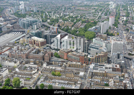 An aerial view of Paddington Basin in London, recently redeveloped with new homes and office space - Stock Photo