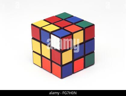 Rubik's Magic Cube against a white backgound, London, England, United Kingdom - Stock Photo