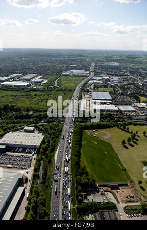 An aerial view of traffic congestion on the M25 near Waltham Abbey - Stock Photo
