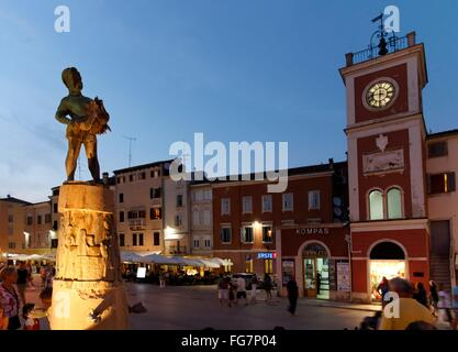 geography / travel, Croatia, Istria, Rovinj, Fontana Square with clock tower, Additional-Rights-Clearance-Info-Not - Stock Photo