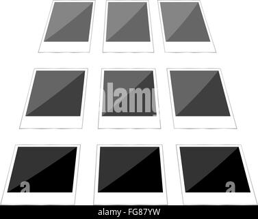 Collage of blank instant images. photo frame set - Stock Photo