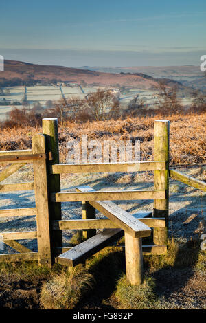 Frosty morning from above Bole Hill Quarry in the Peak District, Derbyshire. Winter conditions, February, 2016. - Stock Photo