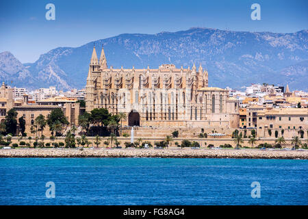 Cathedral Santa Maria of Palma de Mallorca, at Balearic Islands Spain - Stock Photo