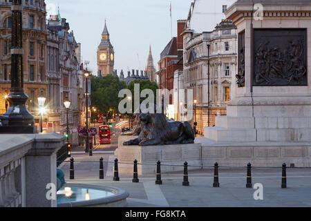 Trafalgar square and Big Ben, early morning in London, nobody - Stock Photo