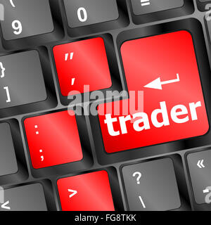 Trader keyboard representing market strategy - business concept - Stock Photo