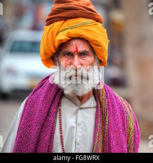 sadhu in Orccha, Madhya Pradesh, India, South Asia - Stock Photo