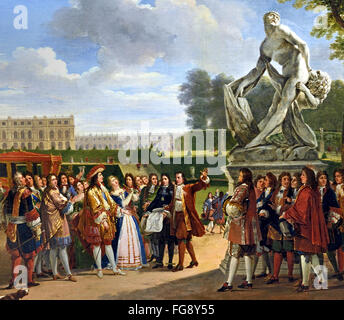 King Louis XIV 1638-1715 Dedicating Pugets Milo of Crotona in the Gardens at Versailles 1819 by Anicet Charles Gabriel - Stock Photo