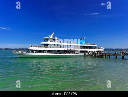 geography / travel, Germany, Bavaria, Lake Starnberg, Seeshaupt, ship of the line 'MS Seeshaupt', Additional-Rights - Stock Photo