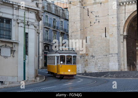 geography / travel, Portugal, Lisbon, historic tram at Catedral Se Patriarcal, Alfama, Additional-Rights-Clearance - Stock Photo