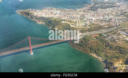 Aerial View Of April 25Th Bridge Over Tagus River - Stock Photo
