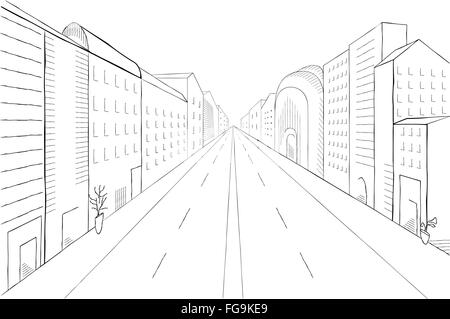 Urban monochrome landscape, vector illustration. Modern city street with buildings, skyscrapers and trees perspective. - Stock Photo