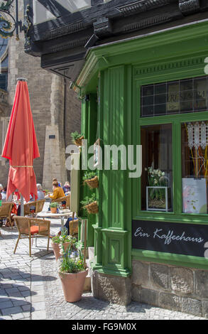geography / travel, Saxony-Anhalt, Quedlinburg, shop window, Kornmarkt, cafe 'Roland', Breite Strasse, Additional - Stock Photo