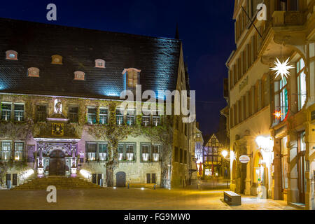 geography / travel, Saxony-Anhalt, Quedlinburg, marketplace, city hall, Additional-Rights-Clearance-Info-Not-Available - Stock Photo