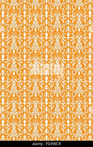 Seamless floral vintage pattern in orange isolated on white - Stock Photo