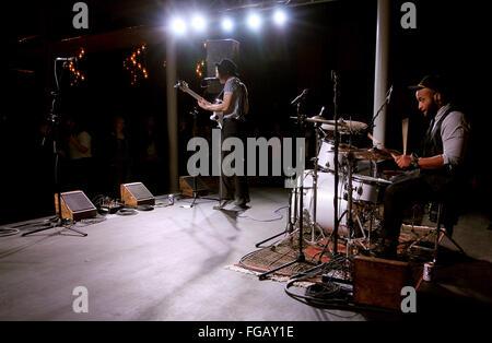 Iowa, USA. 17th Feb, 2016. Samuel Carothers (singer) and Matt Ajishegiri (drummer) of the Rock Island based band - Stock Photo