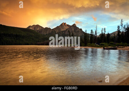 ID00288-00...IDAHO - Sunset over McGown Peak from Stanley Lake in the Sawtooth National Recreation Area. - Stock Photo