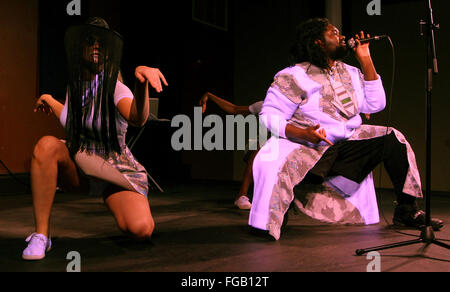 Iowa, USA. 17th Feb, 2016. Flint, MI based electro-pop and R&B artist Tunde Olaniran performed during the opening - Stock Photo