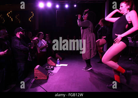 Iowa, USA. 17th Feb, 2016. Minneapolis, MN based alternative hip hop artist Melissa Jefferson, better known as Lizzo - Stock Photo